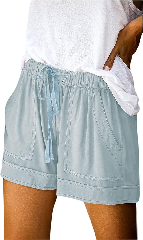 COMVALUE Womens Shorts for Summer, Summer Shorts for Women Comfy Drawstring Casual Elastic Waist Shorts