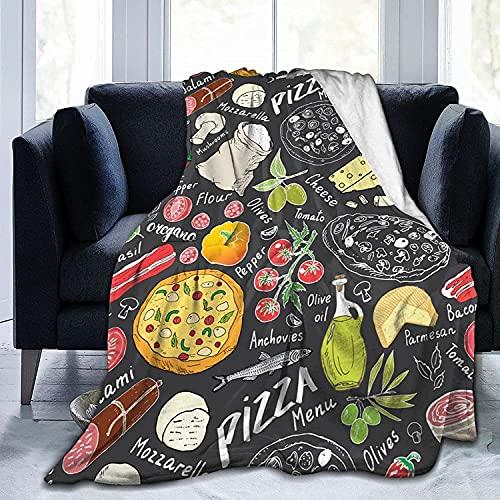 Manta Doodles para Pizza, Otros Ingredientes alimentarios, Mantas de Franela de Forro Polar para sofá Cama, sofá, Coche, Manta Suave y acogedora, tamaño Queen King, tamaño Completo para niños