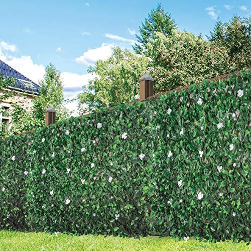 GardenKraft 26150 Pannelli di 2.6 m x 0.7 m Sintetica Fiore di peonia e Foglia | Schermatura di Recinzione espandibile | Protezione UV Contro Lo sbiadimento, Verde