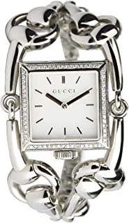Cucci Wrist Watch for Women Diamond Inlay Stainless Steel, Silver
