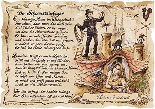 Die Staffelei Schornsteinfeger Geschenk-Bild-Karte, Zeichnung mit lustigem Gedicht inklusive Wunschtext, Bild, Spruch Kaminputzer - Glücksbringer - A4 Bild-Präsent zum Jubiläum