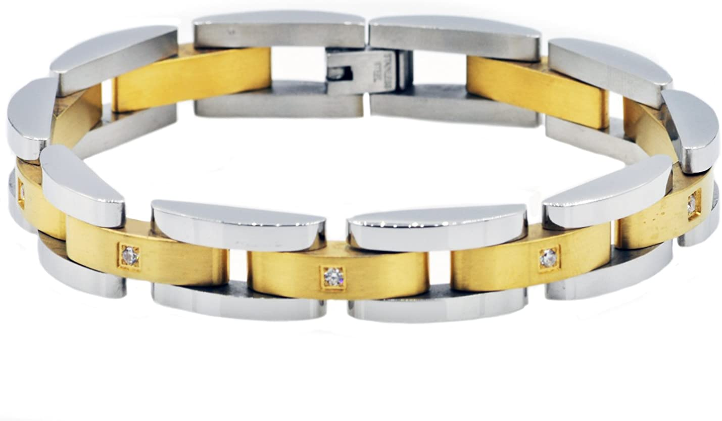 Blackjack Jewelry Men's Brushed and Gold National uniform free shipping Plated 18k Polished Sta Max 58% OFF