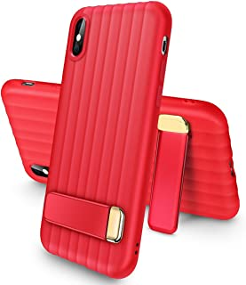 iPhone X Kickstand Caes, AICase TPU Soft Rubber Silicone Slim Cover with Kickstand for Apple iPhone X/10 (Red)