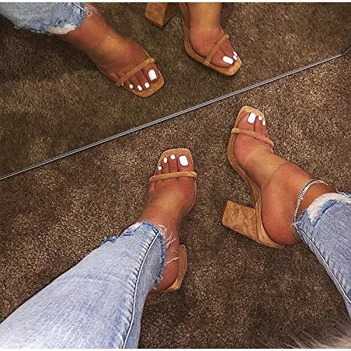 YYFF Planas Zapatos de Playa y Piscina,Sandali Sexy con Tacco Alto,pantofole serpente-Nero_42,Chanclas Mujer