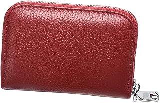 HLILOP Card Cases Genuine Leather Zipper Credit Holder Security Travel Wallet