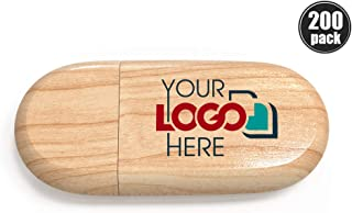 Custom Promotional Wood USB 3.0 Flash Drive 16GB Personalized USB Stick Printed or Engraved with Your Logo Bulk Wholesale, Maple 200 Pack