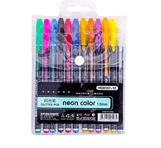 Fan-Ling 12/48pcs Colorful Glitter Gel Pens,Art Crafting Doodling Drawing,Stationery Pastels Pens Gift for Kids,Gel Refills Rollerball Pastel Neon Glitter Pen Drawing Colors (A)