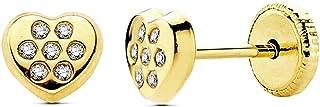 18K Gold Heart Cubic Zirconia Earrings 5mm. [Ab3022]