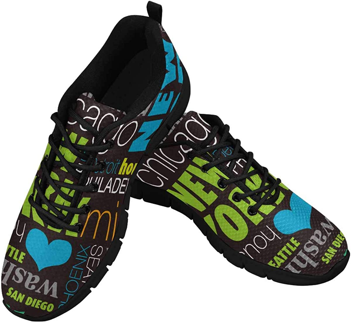 INTERESTPRINT USA City Typography Background Women's Lace Up Breathable Non Slip Sneaker