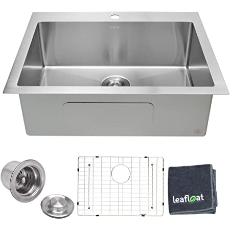 """leafloat Topmount Kitchen Sink 28 Inch, 28""""x22""""x9"""", Single Bowl, 16 Gauge T304 Stainless Steel, Satin Finish, with Strainer & Bottom Grid, cUPC listed"""