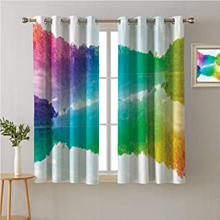 Jinguizi Abstract Grommet Curtain Panels,Surreal Landscape Photo with Trees and Reflection on Water Extraordinary Nature,Style Darkening Curtains,72W x 45L