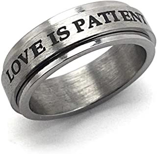 FORGIVEN JEWELRY English and Spanish Love is Patient El Amore ES Paciente Stainless Steel Spinner Ring
