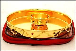 Indian Handicrafts Export Golden Pooja Thali in German Silver (Golden Round Pooja Plate)