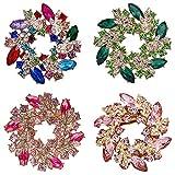 DTWAWA 4 Piezas Set Guirnalda Broche de Flores Broche de Diamantes de Imitación Multicolor Regalo de Damas