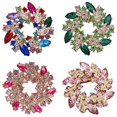 DTWAWA 4 Teiliges Set Blume Brosche für Frauen, Stilvolle Blumen-Brosche mit künstlichem Kristall, Frau Geschenk