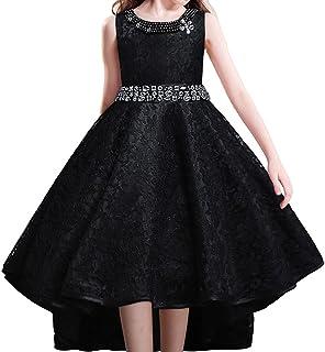 40538af68d084 HUANQIUE Robe de Mariage Fille Princesse Demoiselle d Honneur Robe à Queue  d aronde