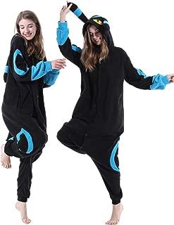 vavalad Adult Umbreon Onesie Pajamas Cosplay Animal Homewear Sleepwear Jumpsuit Costume for Women Men