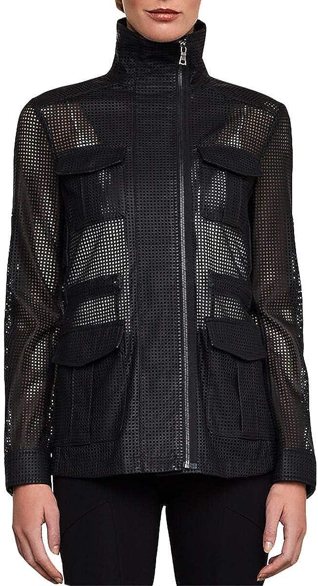 BCBGMAXAZRIA Womens Bronnen Faux Leather Open Back Utility Jacket