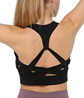 a7fda18b96aa7a Snailify Women s Sports Bra Racerback Full Coverage High Impact Strappy Bra-  Yoga Gym Workout