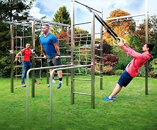 TOLYMP Turngerät Spielgerät Kletterturm Spielturm, universell für Familie, Kinder und Fitness im eigenen Garten Cross All - mit Sprossenleiter, Kletternetz, Dip-Barren, Klimmzugstangen