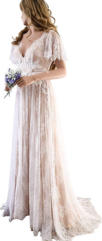 CCBubble Lace Boho Wedding Dresses 2018 Double V Neck Wedding Gowns