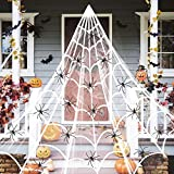 Bluelves Juego de Arañas de Decoración de Halloween, 5x4,8m Tela de Araña Triangular, 30 Araña Falsa y 60g de Algodón de Araña para Decoración Adornos Fiesta Halloween