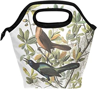 Lunch Tote Bag with Boat-Tailed Grackle Print- Insulated Reusable Lunch Box, BaLin Thermal Colder Lunchbox for School Work Office