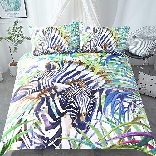 UOUL Juego de Cama Completo de 3 Piezas Impresión 3D Jungle Zebra Green Realista para Adolescentes Niños Adultos,Jungle Zebra,King