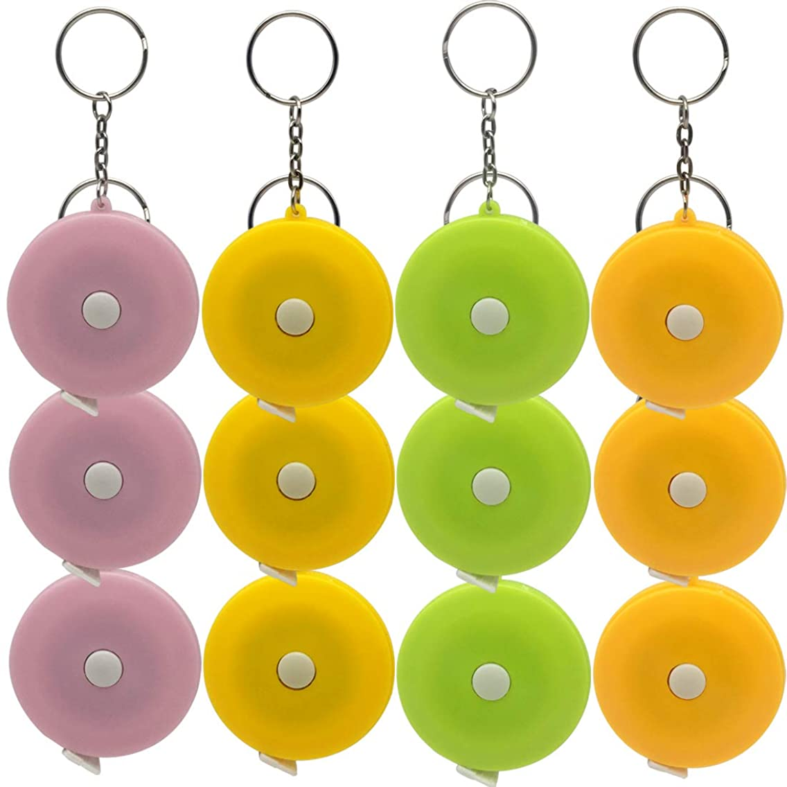 12 Pack Key Chain Tape Measure 150cm 60 Inch Push Button Retractable Measuring Tape for Body Measurements, Double-Sided Tailor Cloth Ruler by Pantinue