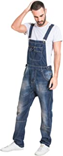 Berna Destroyed Denim Salopette Uomo Slim Fit Dettaglio abrasione Salopette Gamba st Alan