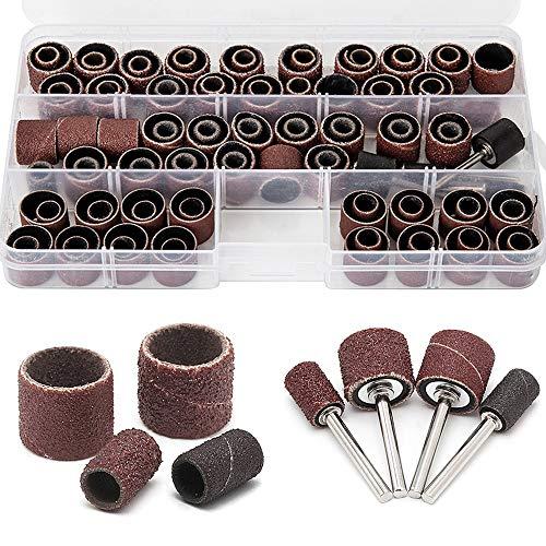 104 pièces cylindres ponçage abrasifs manches ponceuse Tamburo 60 120 320 grain avec kit rotatif Dremel 4 mandrins tubulaires en caoutchouc