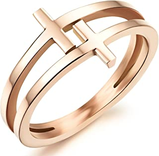 Womens Elegant 18K Rose Gold Stainless Steel Double Cross Ring Christian Fashion Wedding Engagement Band