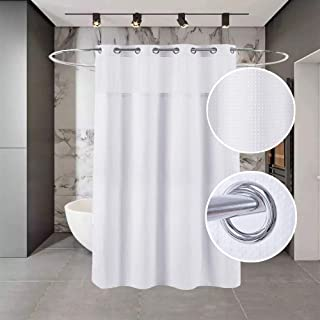 Buyplus Hookless Shower Curtain Liner - Fabric Waffle Weave Bath Curtains,White Weave Bathroom Decor for Spa Hotel with Removable Polyester Snap-in Lining