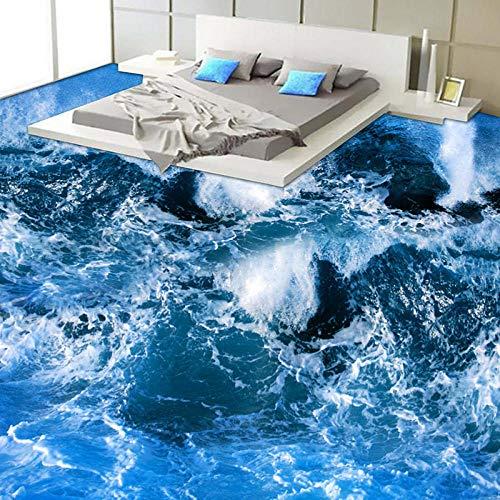 Personalizado Murales Y Vinilos Para Dormitorios Estilo Mediterráneo Surf Seawater 3D Suelo Mural Papel Tapiz Baño Moderno Custom 3D Floor Wear Vinilo Antideslizante Wallpaper-430 * 300Cm