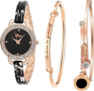 Women's Dress Bracelet Watch and Bangle Set Rose Gold Black Band D3866L