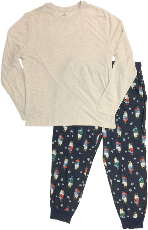 Mens 2pc Penguin Pajamas Sleep Set Flannel Lounge Pants & Long T-Shirt