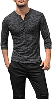 T-Shirts for Men, Sweater Casual Long Sleeve Henry Button Slim Blouse