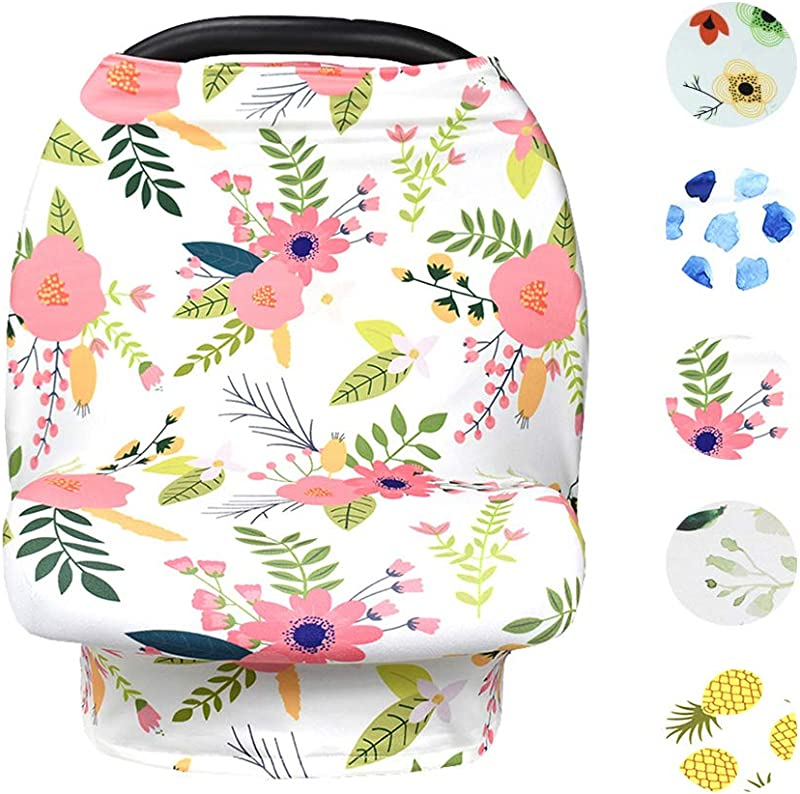 Baby Nursing Cover Up Breastfeeding Covers Stroller Scarf Floral White Pink