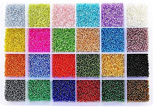 Abalorios 24000 piezas Abalorios de Manualidades 2 mm 24 Colores para Manualidades Joyería Pendientes Pulseras y Collares