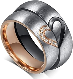Unisex's Ring Stainless Steel Half Heart of Love Puzzle CZ Design Rose Gold Black for His&Her