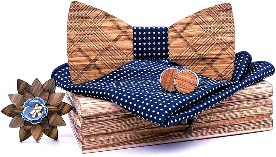 Licogel Man Bow Tie Set Wood Decorative Formal Neck Bowtie Pocket Square Party Cufflinks Vintage Wooden Handcrafted