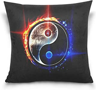 WNSNDFmmmd Chinese Dragon Tai Bagua Yin Yang 3D Pillowcase for Living Room Sofa Car Decorative Cotton Linen Throw Pillow Case Cushion Cover Square 18 X 18 Inches