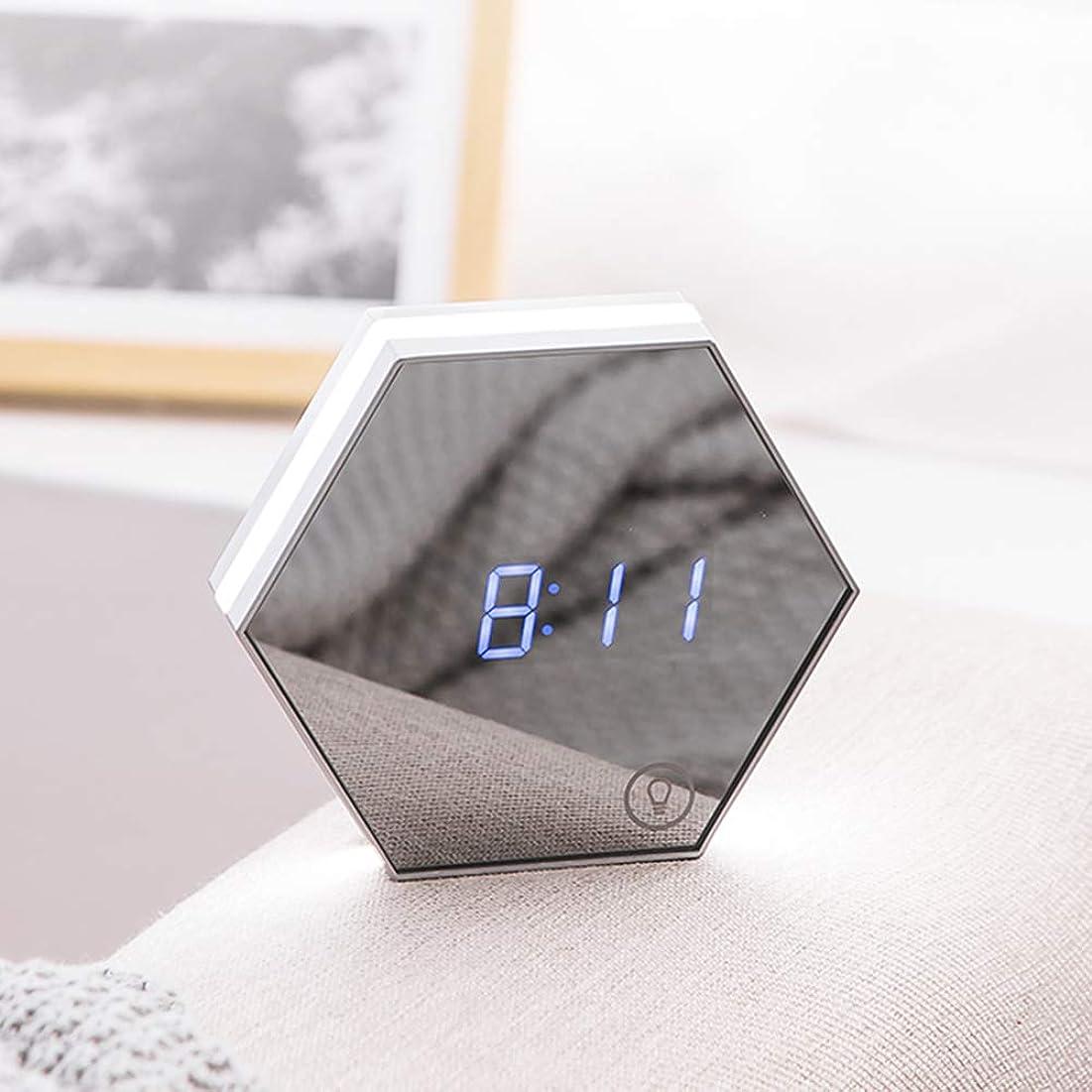 ニコチン墓地運命目覚まし時計デジタル多機能ミラー目覚まし時計充電式ポータブルスマート Led デジタル時間アラーム温度表示デスクまたは部屋の装飾旅行目覚まし時計,White