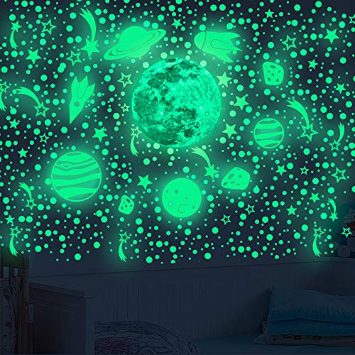 Glow in The Dark Stars for Ceiling Wall Decals, 503PCS Glowing Moon and Planet Spaceship Stars Wall Stickers, Best Gift for Kids Bedding Room Nursery Room Home Decoration Party Birthday