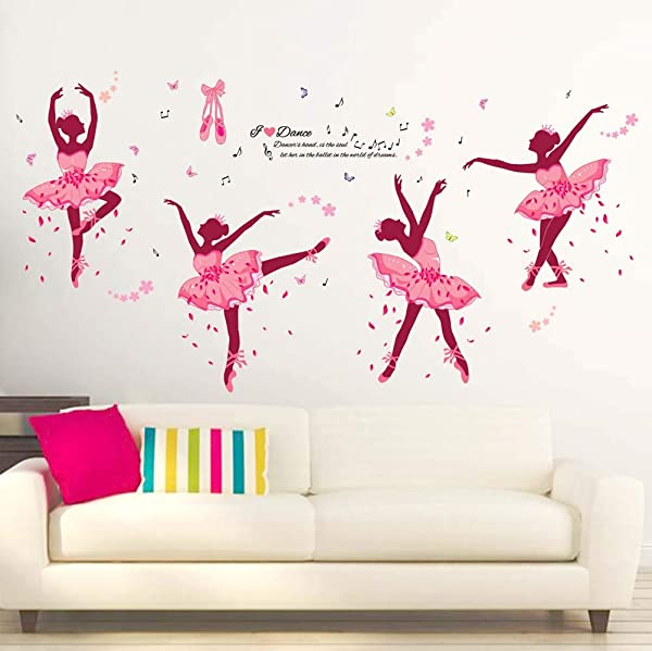 Iwallsticker 74 X 38Inch DIY Ballet Girl Wall Sticker Decals Removable Pink Wall Decal Sticker Mural Art Home Dance Room Decor