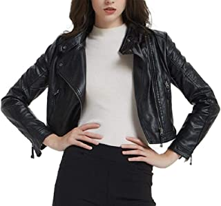 Howely Women's Classic Faux Leather Zip Front Jackets Short Moto Biker Coat