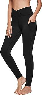 Women's High Waisted Yoga Pants V Cross Waist Side Pocketed Tummy Control Workout Leggings