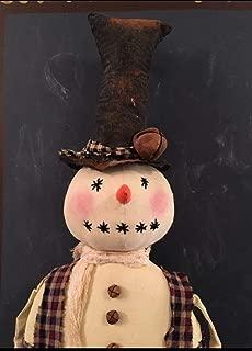 Primitive Folk Art Snowman Wearing Top Hat