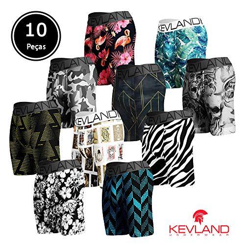 Cuecas Boxer Long Leg Kevland - Kit com 10 Peças Com ESTAMPAS SORTIDAS Tamanho:G;Cor:Multicolorido