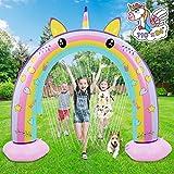 LETOMY Gonfiabile Arcobaleno Arco Sprinkler Unicorno Splash Giocattoli per Bambini, Spruzzatore Acqua Spruzzatore Tappetino da Gioco per Estate Giardino Esterno 279* 67 * 213 CM